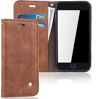 Cell phone cover case for Apple iPhone 7 cover Wallet case Brown