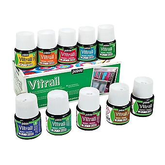 Caja de colores surtidos de pinturas de cristal Vitrail de Pebeo Set 10 x 45ml