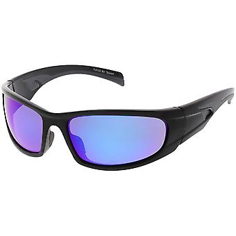 Sports TR-90 Wrap Sungalsses Wide Arms Colored Mirror Rectangle Lens 66mm