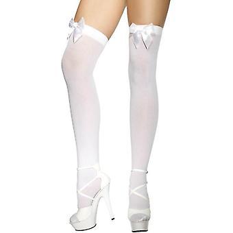 جوارب عالية الفخذ الأبيض، حجم واحد