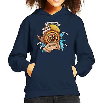 Carribean Lost At Sea Compass Kid's Hooded Sweatshirt
