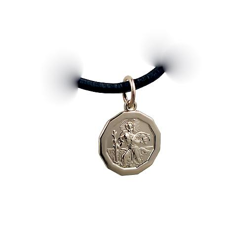 14ct yellow gold on Silver 1/20th 13x13mm dodecagonal St Christopher Pendant with a Leather Pendant Cord