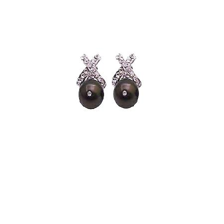 Elegant Swarovski 10mm Deep Brown Pearl Earring For Wedding