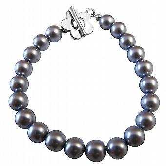 Cool snygg mörkgrå pärlor armband med vackra blomma togglelås