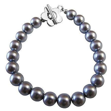 Cool Nice Dark Grey Pearls Bracelet w/ Beautiful Flower Toggle Clasp