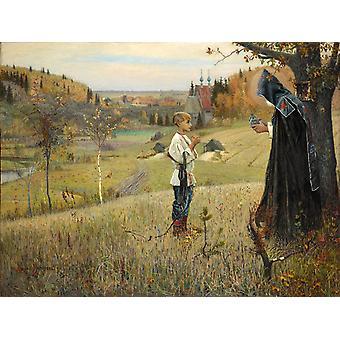 The Vision of the Boy Bartholomew,Mikhail Nesterov,50x37cm