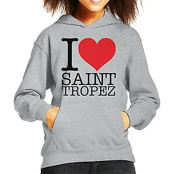 I Love Saint Tropez Kid's Hooded Sweatshirt
