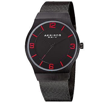 Akribos XXIV Men's AK851 Classic Dial Mesh Stainless Steel Bracelet Watch AK851BK