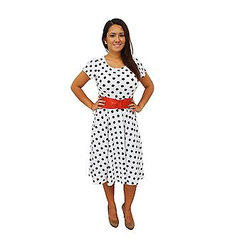 Dbg women's  polka dots short sleeve scoop neck polyester dresses