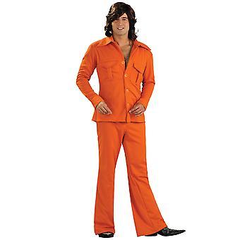 Leisure Suit Orange 1970s 1960s Disco Retro Party kjole op Herre kostume STD