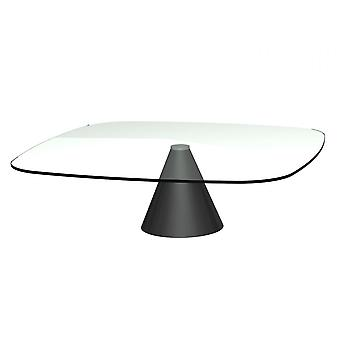 Gillmore Space Large Square Clear Glass Coffee Table With Conical Black Base