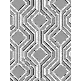 Opus Geo Sequins Wallpaper Silver and Dark Grey Holden Decor 35564