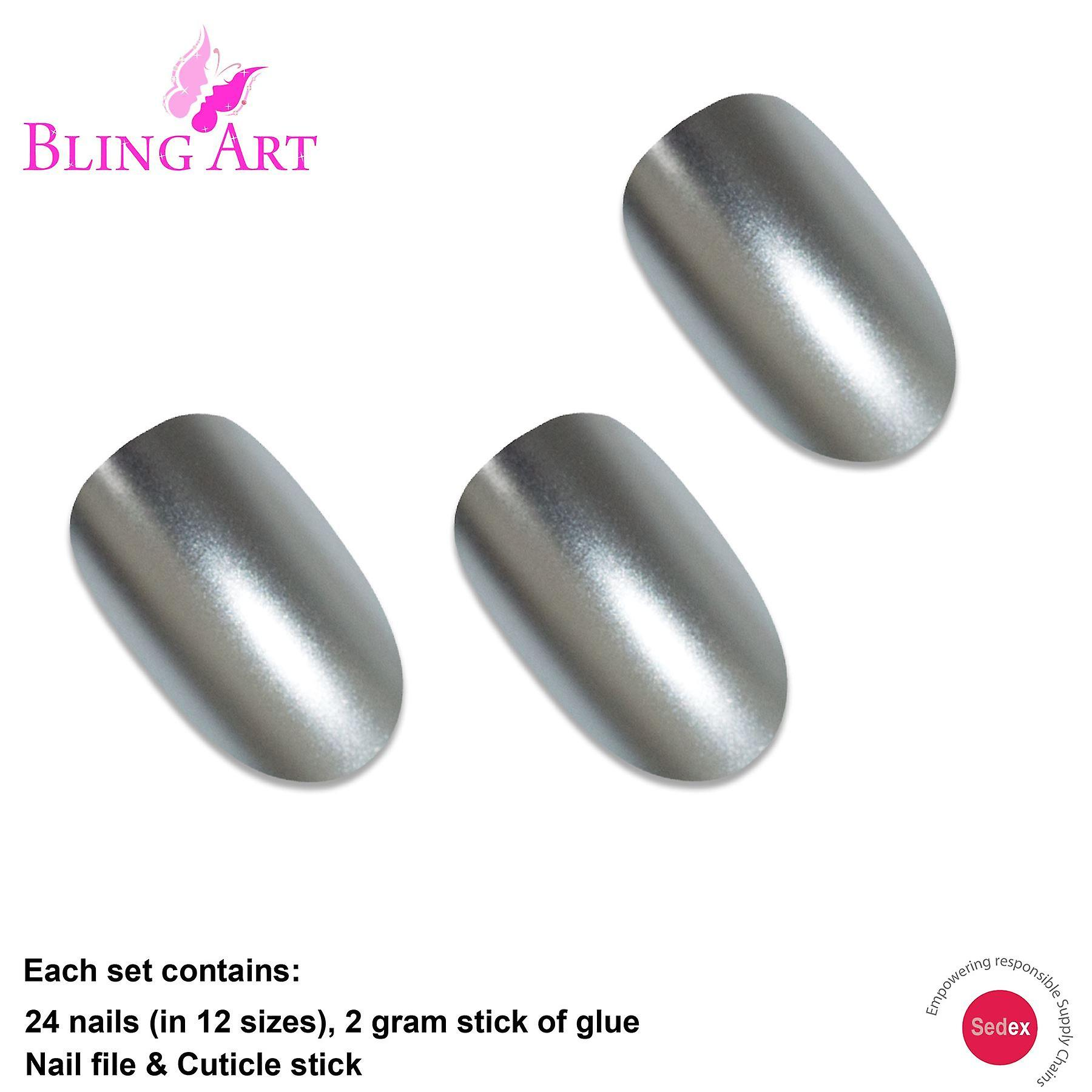 False nails by bling art silver matte metallic oval medium fake acrylic tips glue