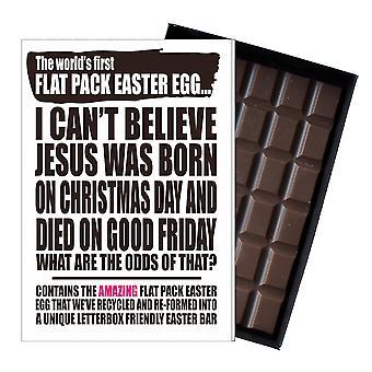 Lustige flache Ostern Ei Schokolade Bar Grußkarte Geschenk Männer Frauen Freund UK EIYF115