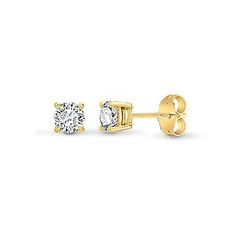 Jewelco London Ladies Solid 18ct Yellow Gold 4 Claw Set Round G SI1 0.75ct Diamond Solitaire Stud Earrings