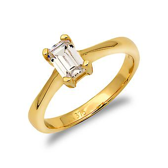 Jewelco London Ladies Solid 9ct Yellow Gold White Emerald Cut Cubic Zirconia Solitaire Engagement Ring