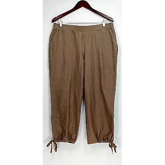 Lisa Rinna Collection Petite Pants Petite Pull On Ankle Brown A274675