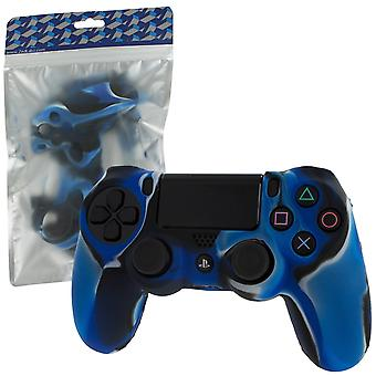 Soft silicone rubber skin grip cover for sony ps4 controller with ribbed handle - camo blue