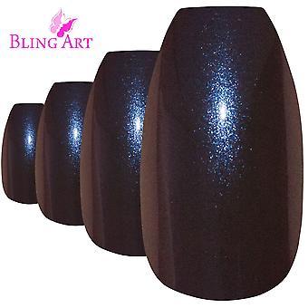 False nails by bling art blue purple chameleon ballerina coffin 24 fake tips