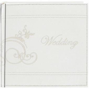 Embroidered Scroll Leatherette White Photo Album     Holds 2 Up 4