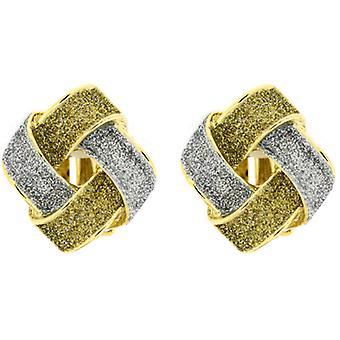Clip On Earrings Store Silver & Gold Glitter Crisscross Diamond Gold Plated Semi