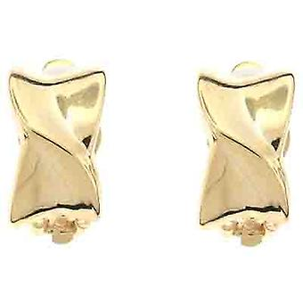 Clip On Earrings Store Gold Metal Overlapped Semi Hoop Clip on Earrings