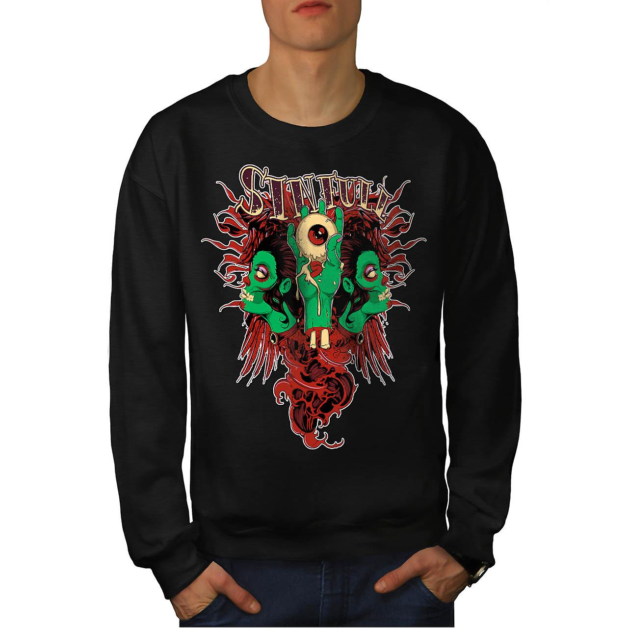 Sinful Monster Head Devil Eye Men Black Sweatshirt | Wellcoda