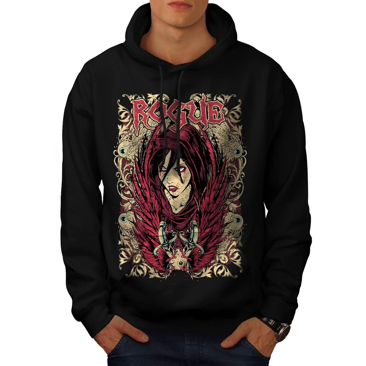 Rogue Rebel Girl Robe Evil Lady Men Black Hoodie | Wellcoda