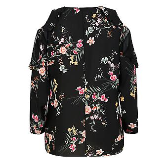 Black & Multi Floral Print Blouse With Frill Cold Shoulder Cut Outs