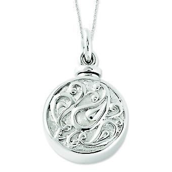Sterling Silver Tear In Circle Ash Holder 18in Necklace - 12.4 Grams