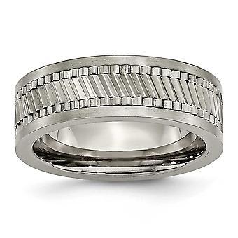Titanium Engravable bas med Sawtooth Accent Plant polerat 8mm Band Ring - Ring storlek: 7 till 9,5