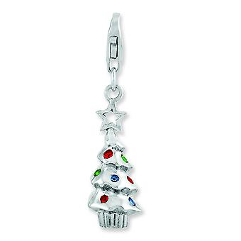 Sterling Silver Rhodium Plated Multi Glass Stone Tree With Lobster Clasp Charm