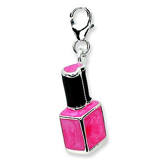 Sterling Silver 3-d Enameled Pink Nailpolish Bottlew Lobster Clasp Charm - Measures 30x5mm