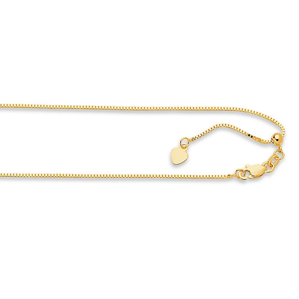 14k jaune or 0.85mm Adjustable Classic Box Chain Necklace - Length  22 to 30