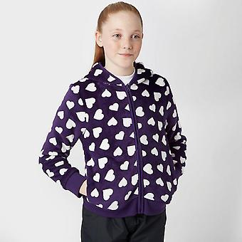 New Peter Storm Girl's Full Zip Long Sleeve Heart Fleece Purple