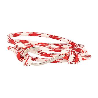 Vikings hook nylon wristband red white with silver hooks