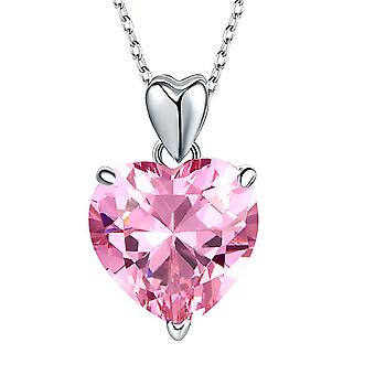 925 Sterling Silver 5 Carat Pink Simulated Diamond Heart Pendant