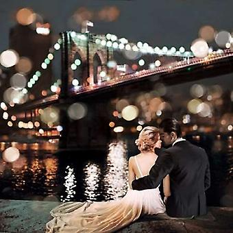 Kissing in a NY Night- detail Poster Print by Dianne Loumer
