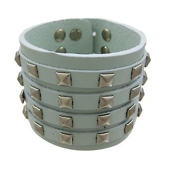 Gray Leather 4 Row Pyramid Studded Wristband Bracelet