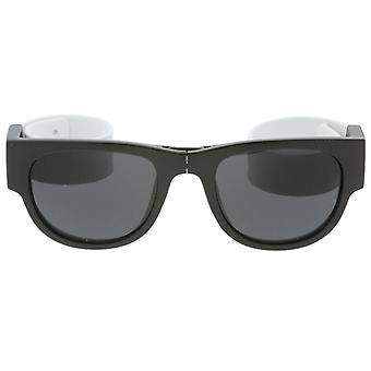 Portable Rubber Snap Arms Square Lens Foldable Horn Rimmed Sunglasses 53mm