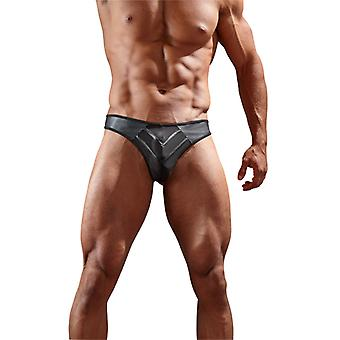 Art Leather Thong With Mesh-Black