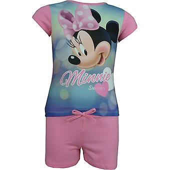 Girls Disney Minnie Mouse 2 Piece Set Short Sleeve T-Shirt and Shorts