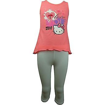 Piger Hello Kitty ærmeløs T-shirt / Top og 3/4 Leggings sæt