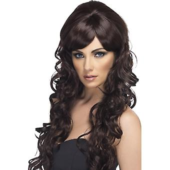 スターレットかつらカーリー茶色ポップスターの長い髪のかつら