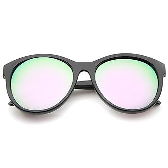 Women's Horn Rimmed Color Mirror Lens Oversized Cat Eye Sunglasses 58mm