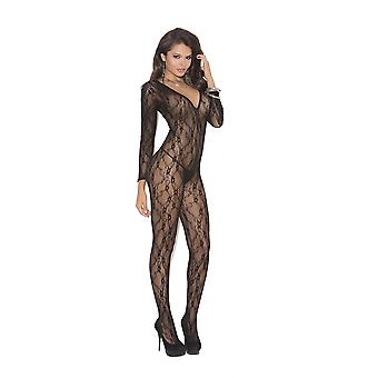 Elegant Moments EM-1619 Deep V long sleevee Bodystocking with open crotch