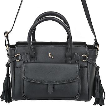 Ashwood Small Leather Handbag With Purse Pocket - 61511- Black