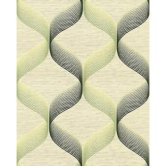 Retro white wallpaper EDEM 1034 15 vinyl wallpaper structured with graphical pattern sparkling Green 5.33 m2