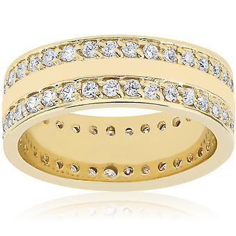 1 1/2ct Diamond Double Row Eternity Ring 14k Yellow Gold 7.5mm Wide Flat Band