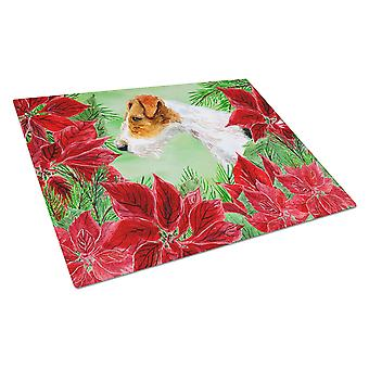 Carolines Treasures  CK1298LCB Fox Terrier Poinsettas Glass Cutting Board Large